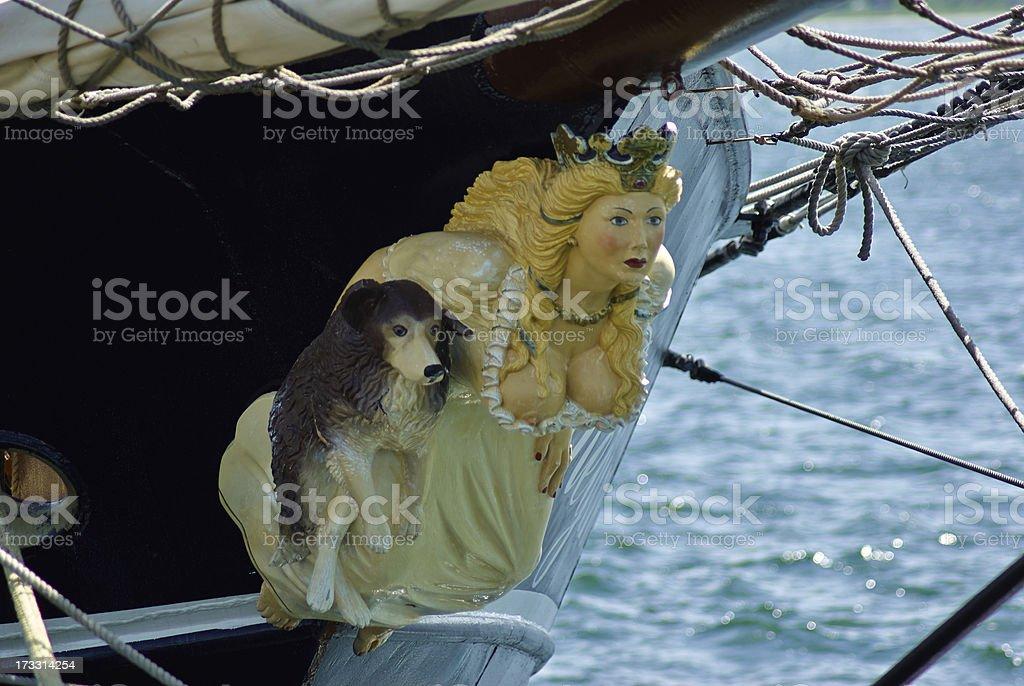 Figurehead on sailing wooden ship stock photo
