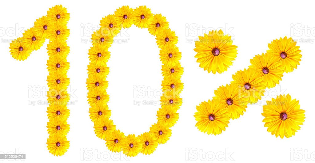 figures 10% of the letters written by flowers stock photo