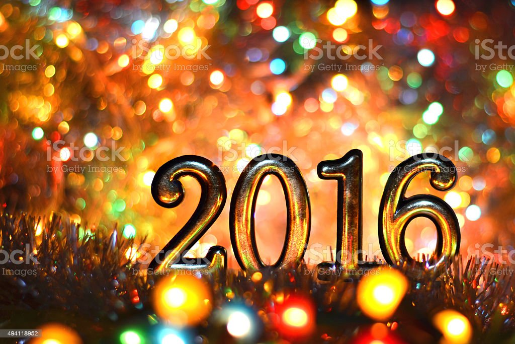 figures 2016 (new year ,Christmas) in bright lights stock photo