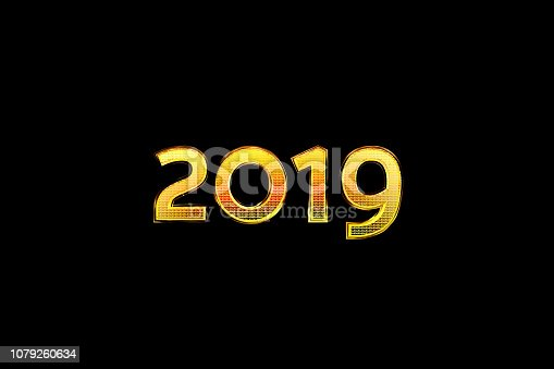 istock Figures 2019 on a black background. Golden number with reflection. 3D rendering 1079260634