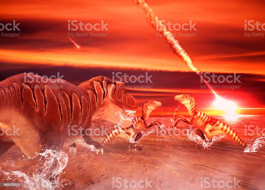 Figures of Deinonychus and Tyrannosaurus stock photo