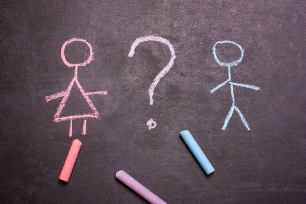 figures of men and women are drawn chalk on a blackboard. - battle of the sexes concept stock pictures, royalty-free photos & images