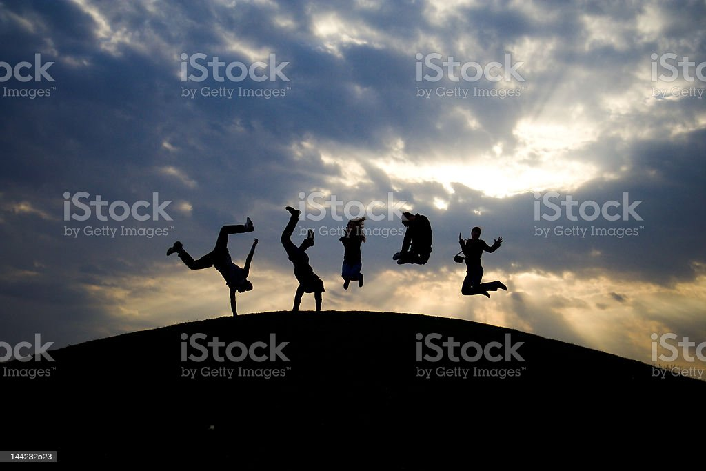 Figures of peoples jumping #4 royalty-free stock photo