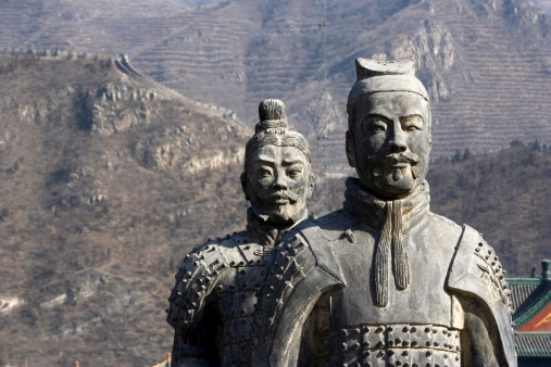 Figures of Soldier and Horses Clay in China.