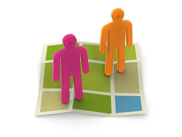 3D figures on map with clipping path stock photo