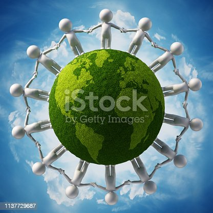 866758230istockphoto 3D figures with different colors holding hands standing around the globe 1137729687