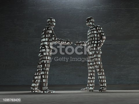 istock Figures with many lit up windows 1035763420