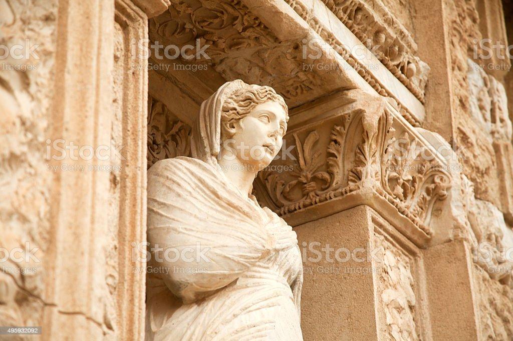 Figurine in Library of Celsus, Ephesus, Turkey stock photo