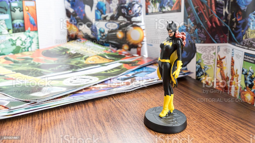 Figurine of Batgirl, ally of Batman and Robin crime fighter stock photo