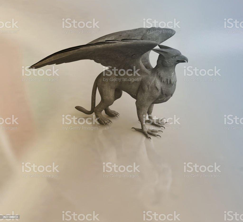 Figurine of Griffine, Mythological Animal stock photo