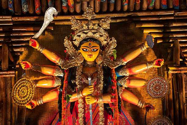 Figurine of Indian goddess during Durga Puja celebration stock photo