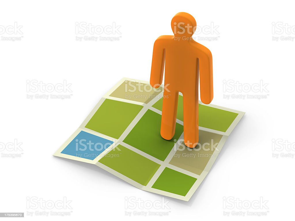 Figurine on map stock photo