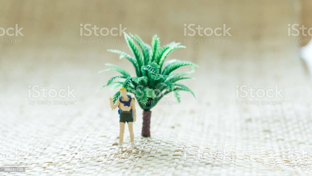 figurine travel man on the screen background - Royalty-free Abstract Stock Photo