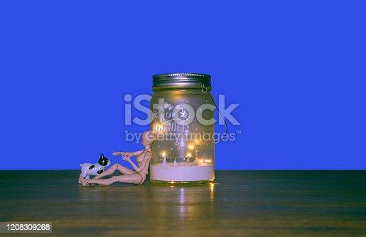 Blue background, human model, animal model, wood table, led light,