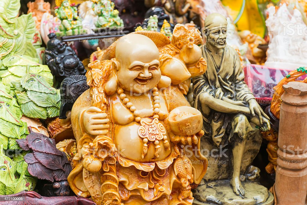Figurines of Buddha and other Indian Gods & Deities stock photo