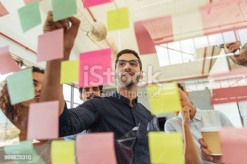 Shot of a group of businesspeople brainstorming with notes on glass wall in an office