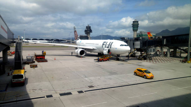 Fiji Airways flight at KLIA, Kuala Lumpur, Malaysia A Fiji Airways flight at KLIA, Kuala Lumpur, Malaysia kuala lumpur airport stock pictures, royalty-free photos & images