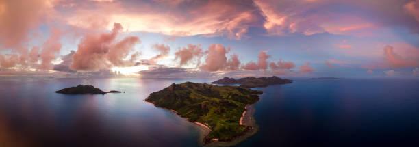 fiji islands, yasawa sunset - fiji stock photos and pictures