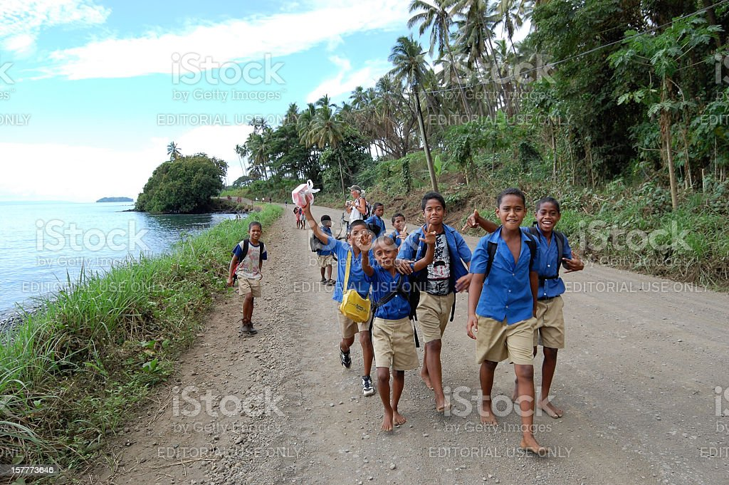 Fiji School Boys stock photo
