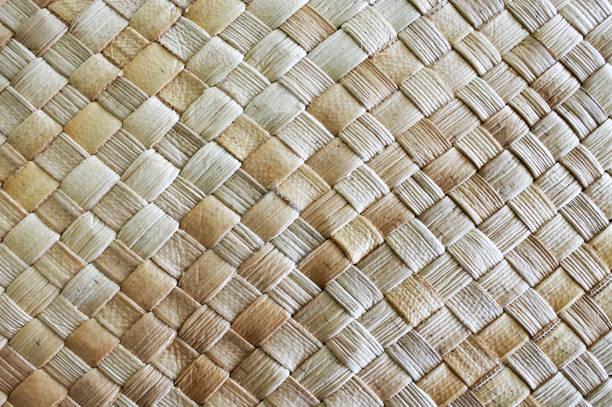fijian coconut palm leaves weaving background - oceano pacifico foto e immagini stock