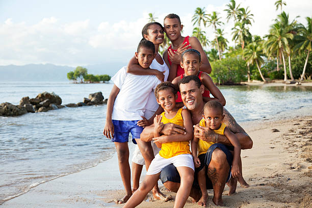 Fijian Family at The Beach stock photo