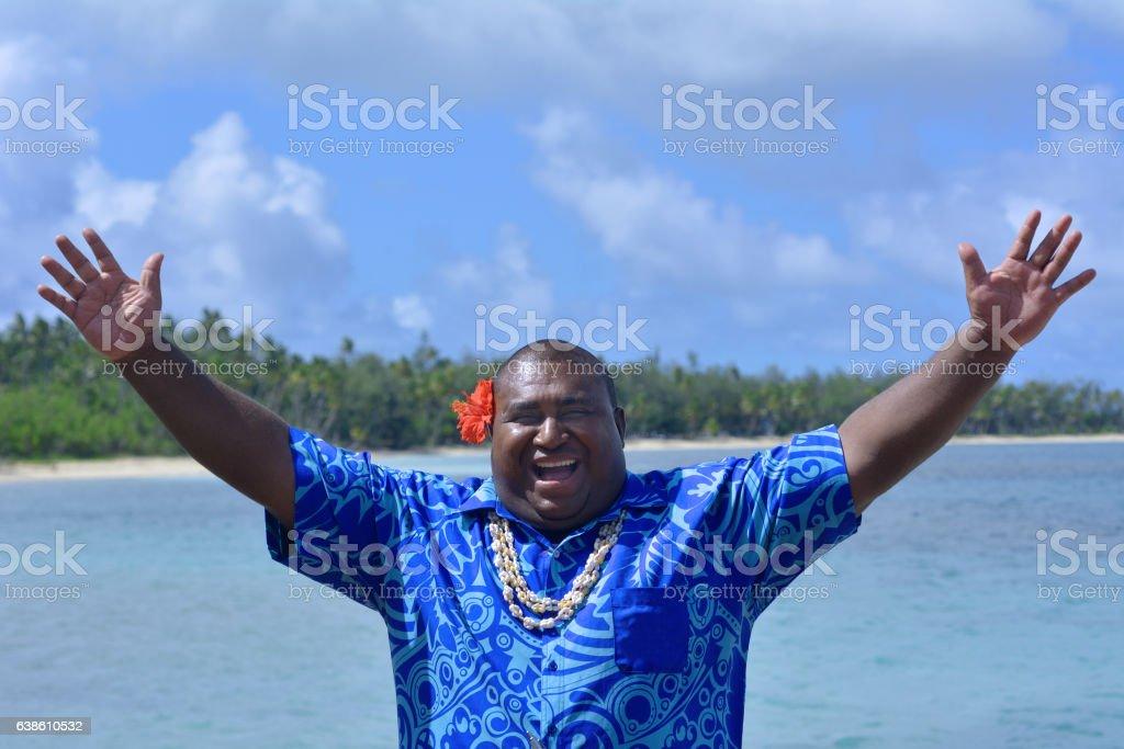Fijian man greets hello in Fiji - Bula stock photo