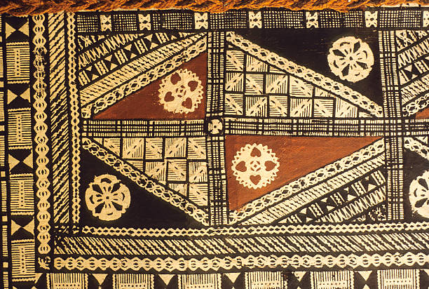 fijian tapa cloth - pacific islands stock pictures, royalty-free photos & images