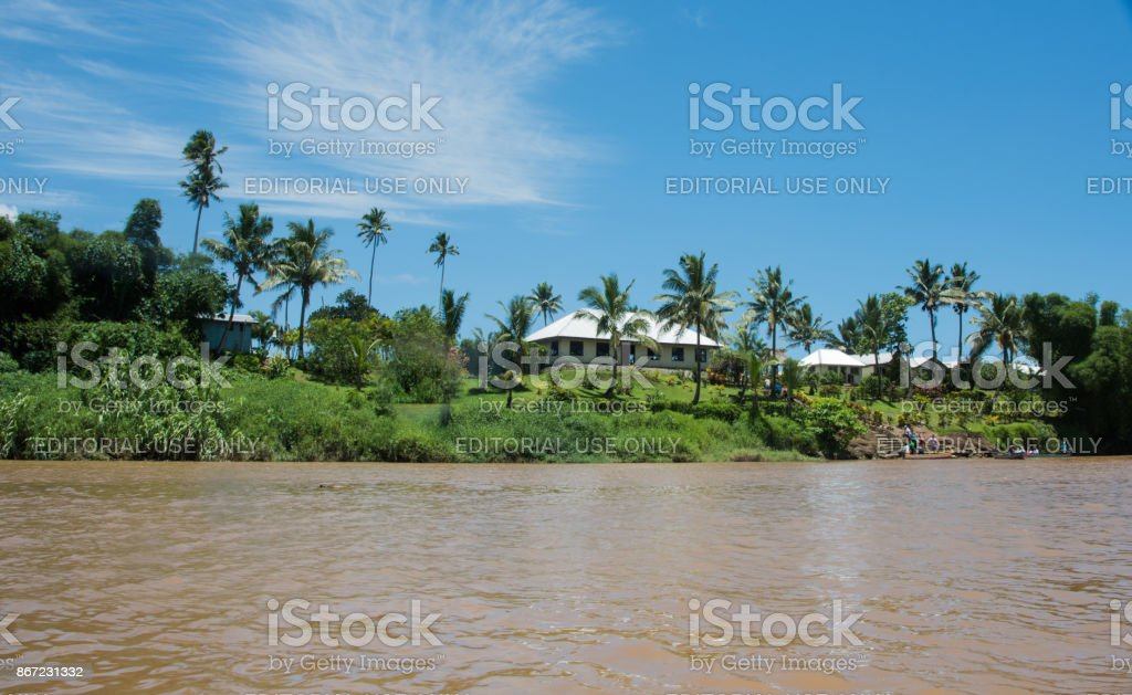Fijian Village stock photo