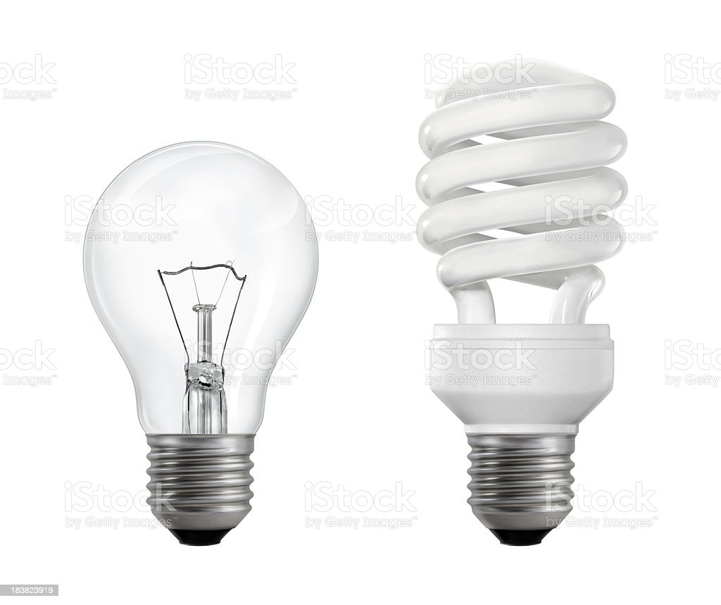 Filament and Fluorescent Lightbulbs Classic (filament) and compact fluorescent lightbulbs isolated on white background. Business Stock Photo
