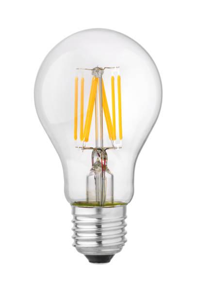 led-filament isoliert - glühbirne e27 stock-fotos und bilder