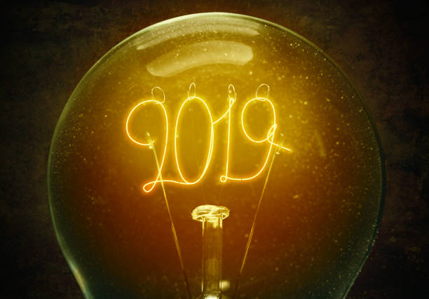 Filament lamp with numbers 2019 stock photo