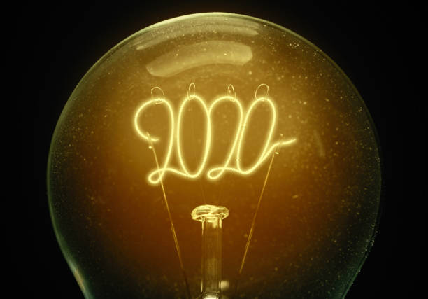 Filament lamp with numbers 2020. stock photo