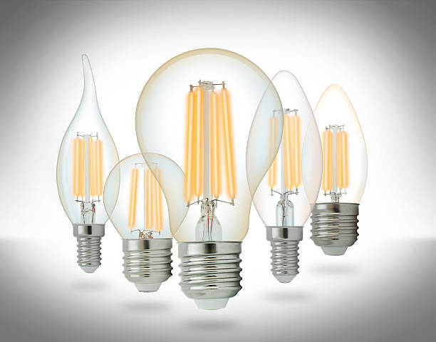 led-lampen satz filament - glühbirne e27 stock-fotos und bilder