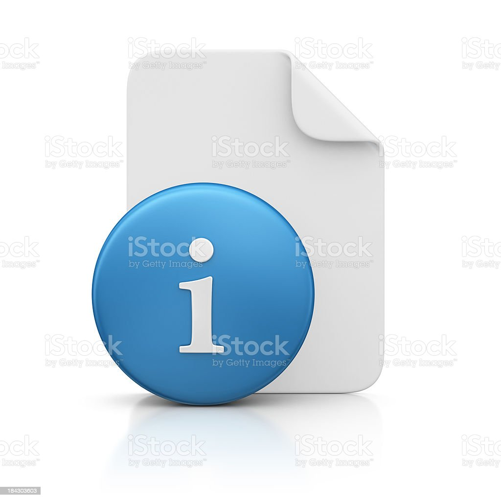 file and info sign stock photo