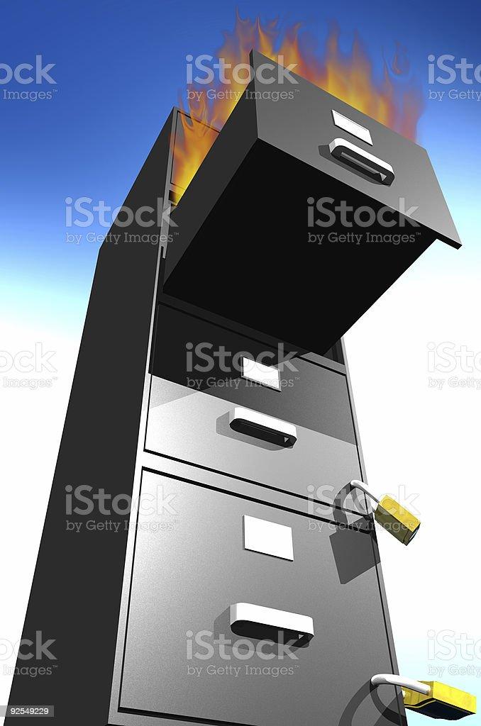 File Cabinet Burning royalty-free stock photo