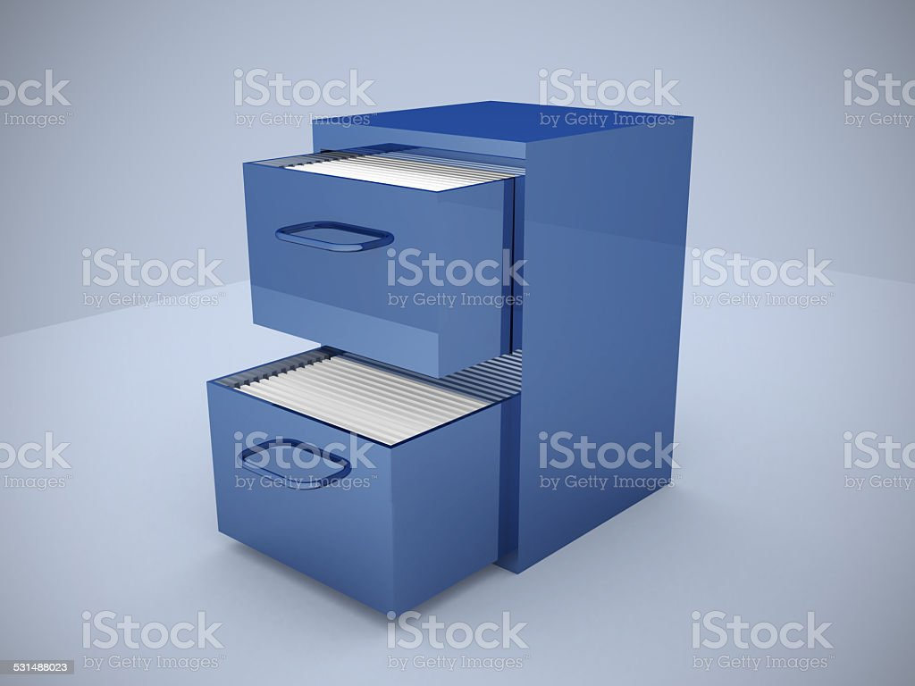 File cabinet with an open drawer with folders stock photo