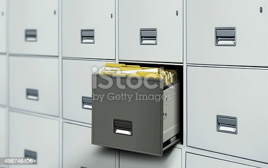 535191355istockphoto File cabinet with open drawer and files 498746406
