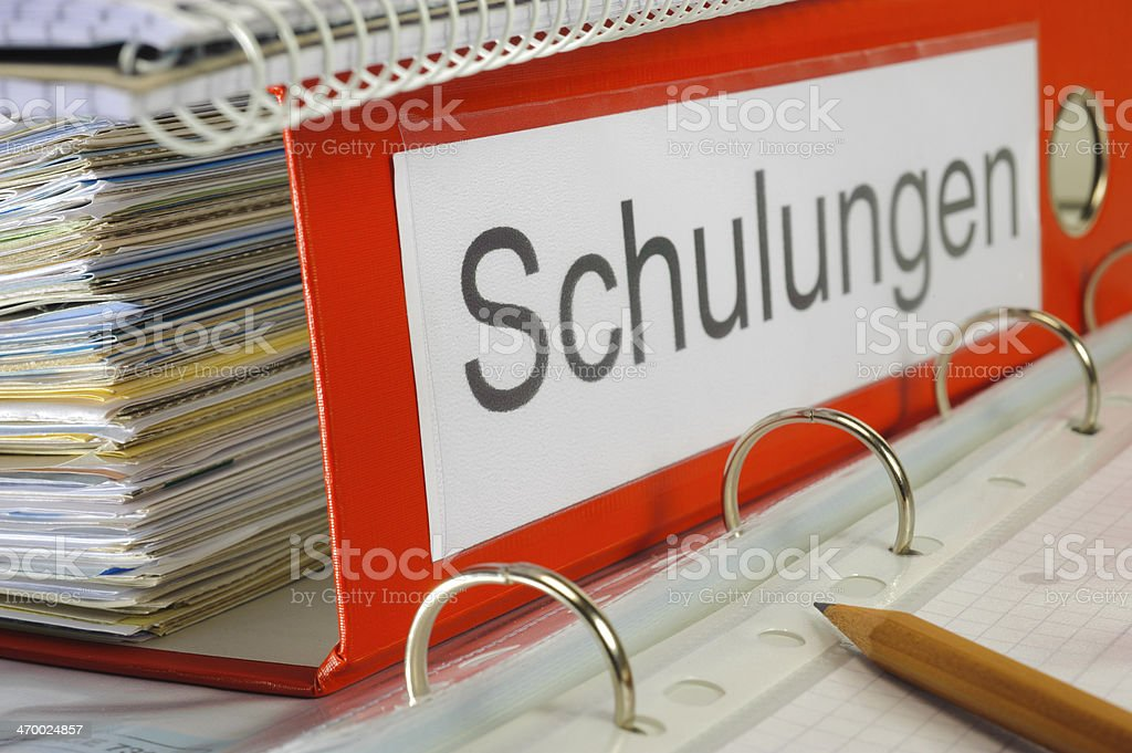 file folder marked with Schulung stock photo