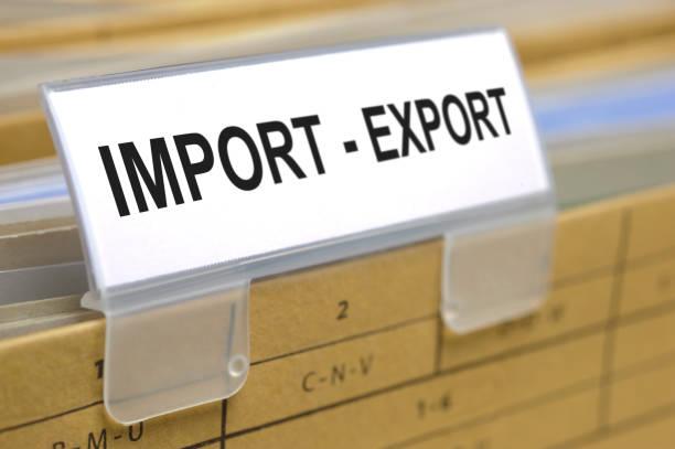 Dateiordner auf Dem Schild mit Import - Export gedruckt – Foto