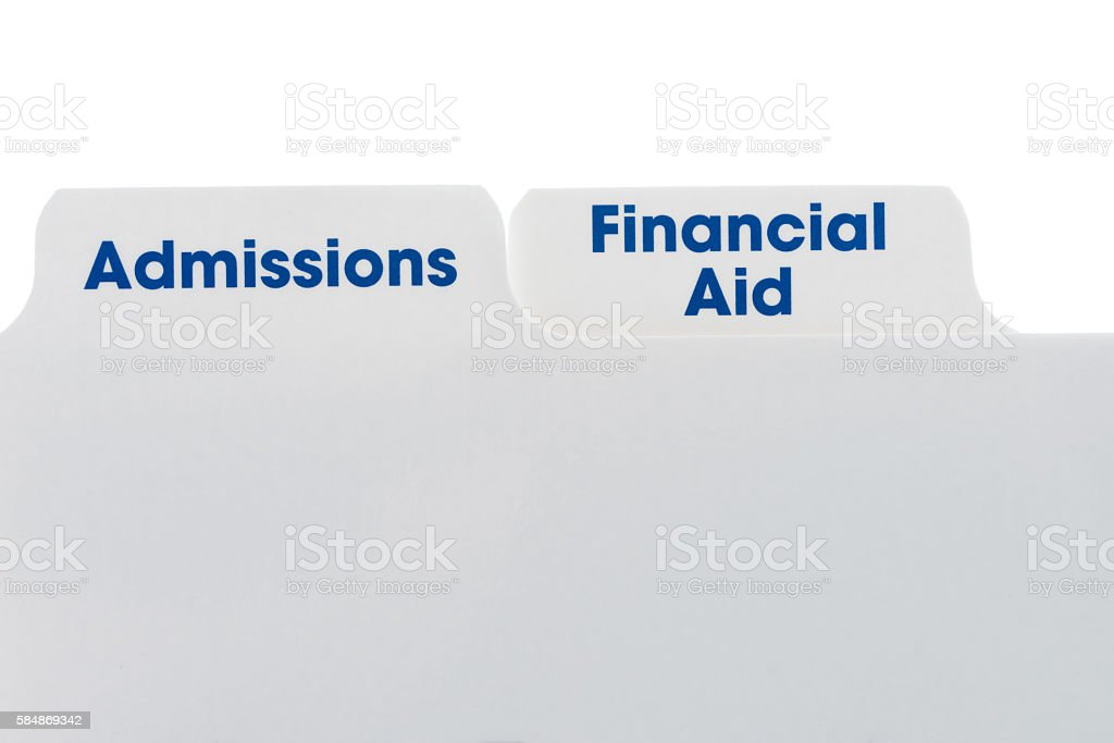 File folder tabs with admissions and financial aid stock photo