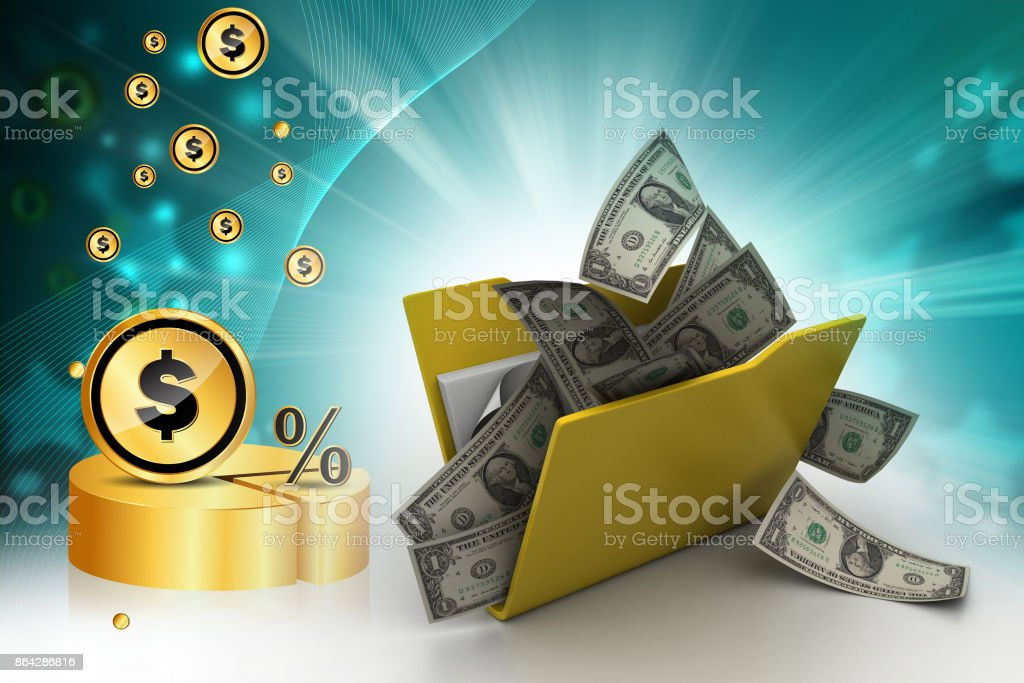 File folder with currency royalty-free stock photo