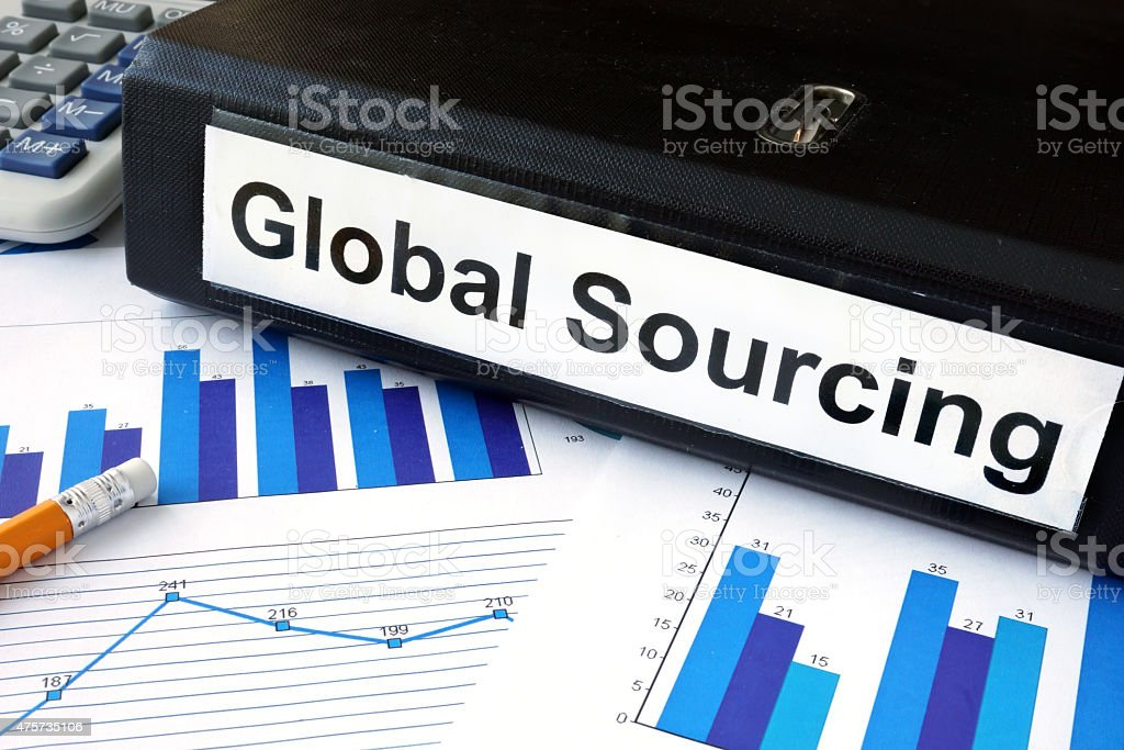 File folder with global sourcing and financial graphs. File folder with global sourcing and financial graphs. Business concept 2015 Stock Photo