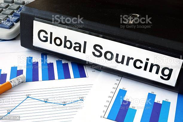 File Folder With Global Sourcing And Financial Graphs Stock Photo - Download Image Now