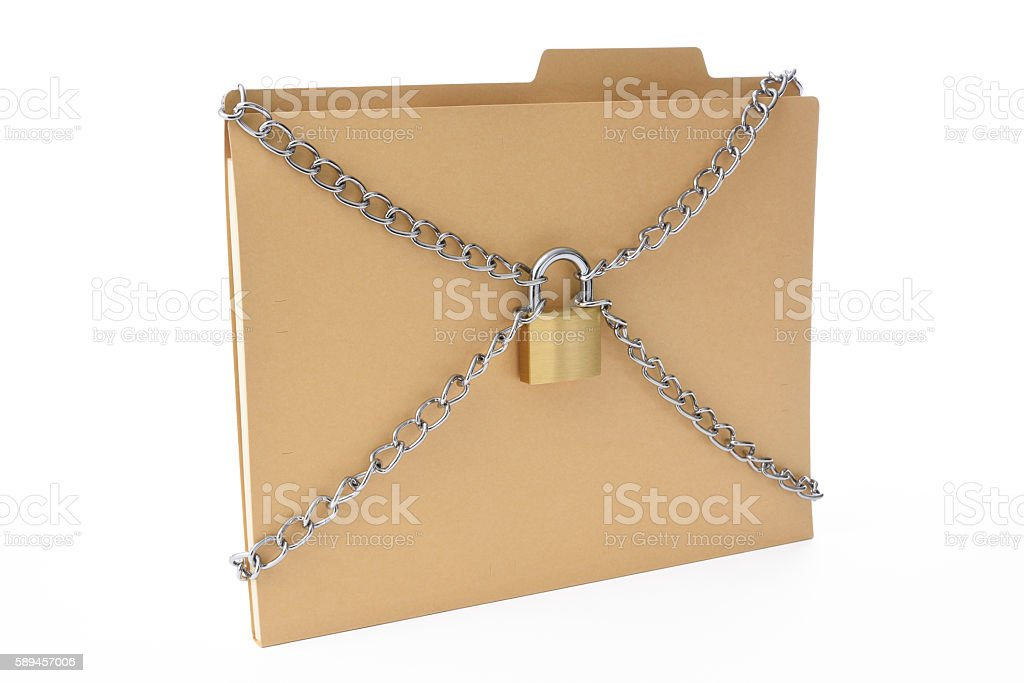 File folder with locked padlock and chain on white background stock photo