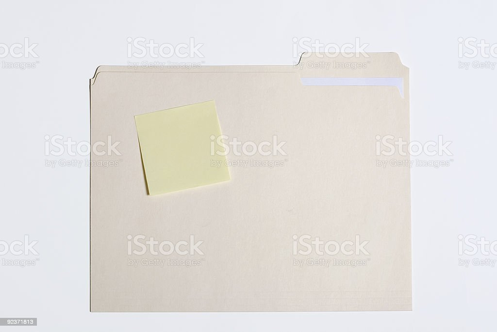 File Folder with Sticky Note royalty-free stock photo