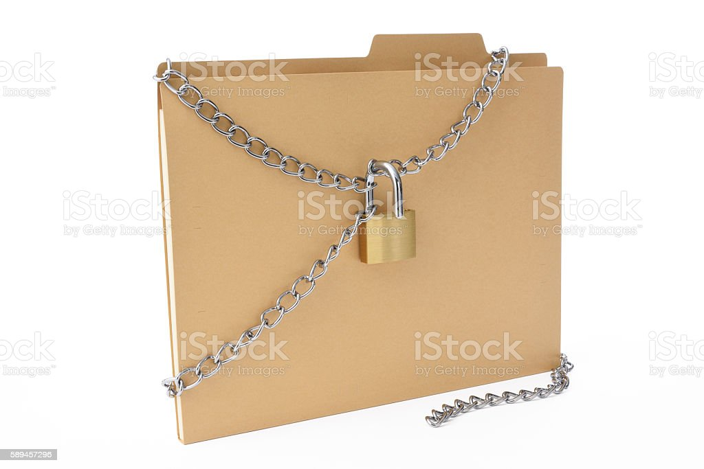 File folder with unlocked padlock and chain on white background stock photo