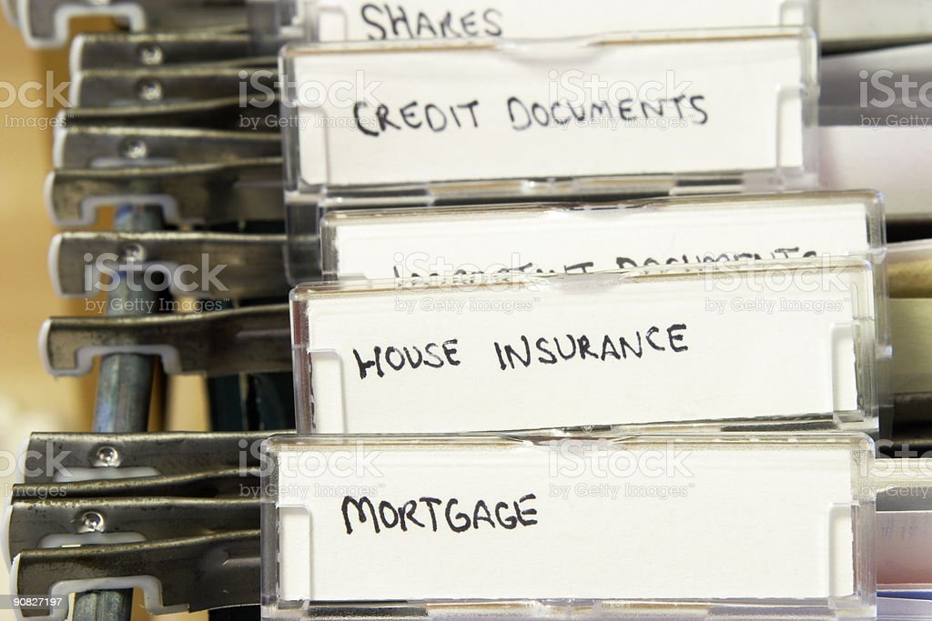 File folders containing house documents stock photo