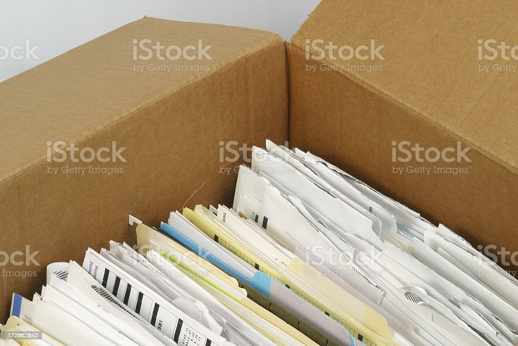File Folders In A Box Document Filing stock photo