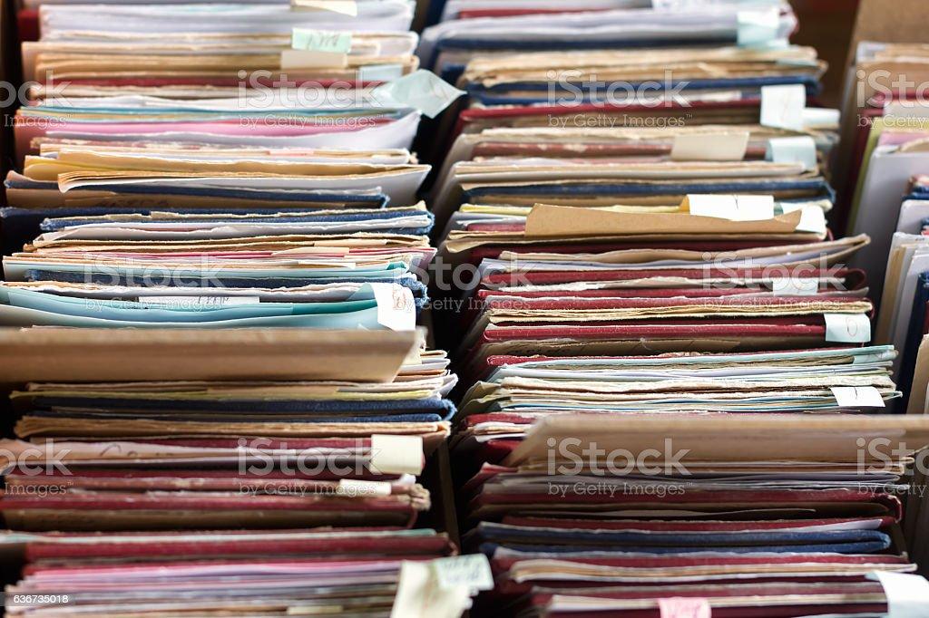 File folders in a file cabinet, card catalog stock photo