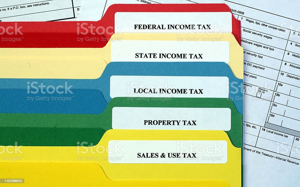 File Folders of Taxes stock photo